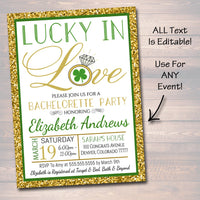 Lucky In Love Invitation, Bridal Shower, Bachelorette Party  Invite, St. Patrick's Day, Four Leaf Clover