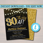 EDITABLE 30th Birthday Invite, 30th Birthday, 30th Bday, Thirty Af, Faux Gold Glitter, Party Lights Dirty Thirty Invitation INSTANT DOWNLOAD