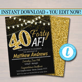 EDITABLE 40th Birthday Invite, 40th Birthday, 40th Bday, Forty Af, Faux Gold Glitter, Party Lights 40 Fabulous Invitation INSTANT DOWNLOAD