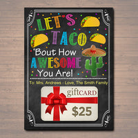 EDITABLE Fiesta Gift Card Holder, Teacher Gift, Staff Taco Burrito Gift, INSTANT DOWNLOAD, Printable Teacher Appreciation, Gift From Student