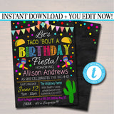 Editable Let's Taco Bout A Birthday Fiesta Invitation Chalkboard Printable Adult Kid's Birthday Party, Cinco De Mayo Bday, INSTANT DOWNLOAD