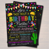 Let's Taco Bout A Birthday Fiesta Invitation Chalkboard Printable Adult Kid's Birthday Party, Cinco De Mayo Bday,