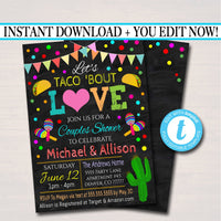 Editable Let's Taco 'Bout Love Invite, Fiesta Nacho Average Bridal Shower, Printable Wedding Couples Shower Party Invite INSTANT DOWNLOAD