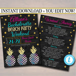 EDITABLE Beach Party Bachelorette Party Invitation, Glitter Gold, Watercolor Pineapple Boho Chic, Girls Weekend Itinerary INSTANT DOWNLOAD