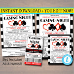 EDITABLE Casino Night Flyer Ticket Set School Event Party Invitation, Family Night, Church Community Bingo Poker, pto, pta, INSTANT DOWNLOAD