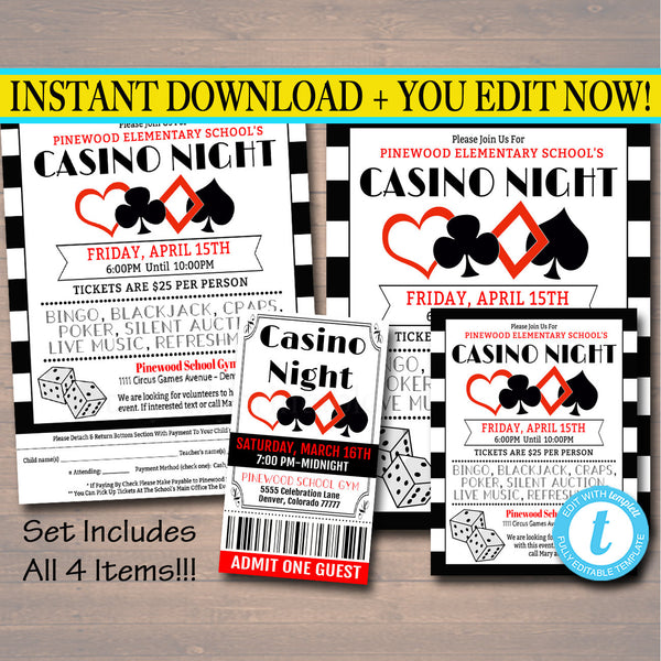 Casino Night Flyer Ticket Set School Event Party Invitation Template