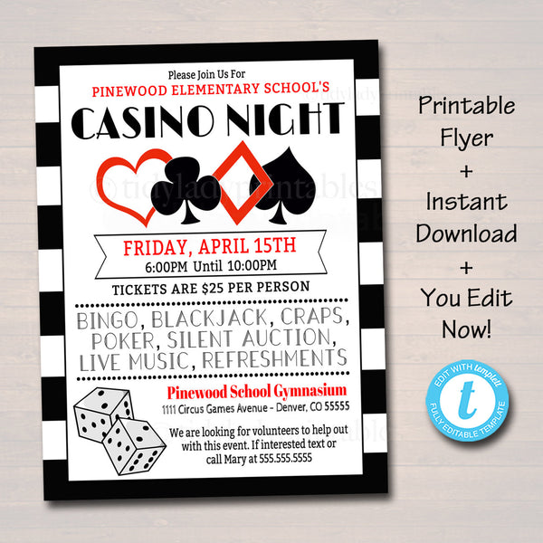 EDITABLE Casino Night Flyer School Event Cards Party Invitation, Family Night, Church Community Bingo Poker, pto, pta, INSTANT DOWNLOAD