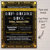 EDITABLE Daddy Daughter Dance Set School Dance Flyer Invitation Roaring 1920's Gatsby Style Church Community Event pto, pta INSTANT DOWNLOAD