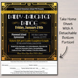 Daddy Daughter Dance Set School Dance Flyer Invitation Roaring 1920's Gatsby Style Church Community Event pto, pta