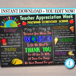EDITABLE World Theme Teacher Appreciation Week Itinerary Poster Digital Week Schedule Events, INSTANT DOWNLOAD pto pta Fundraiser Printables