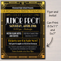 Prom Set, School Dance Flyer Invitation, Ticket Roaring 1920's Great Gatsby Themed High School Event, pto, pta