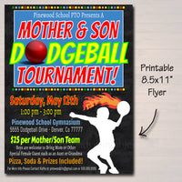 Mother And Son Dodgeball Tournament Flyer & Ticket Set - Editable Template