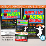 EDITABLE Dodgeball Tournament Flyer, Mother Son Dance, Family Sports Night Ticket Set Printable, Church Community pto, pta, INSTANT DOWNLOAD