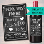 Drink This For Me You're A Tia & Tio To Be Digital Wine Label Pregnancy Announcement New Aunt Uncle Gift Couple's Friends Baby Surprise Gift