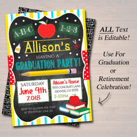 Editable Teacher Retirement Invitation Chalkboard Printable Digital Teacher Invite Graduation Party, School's out Forever Class is Dismissed