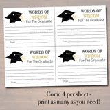 Graduation Party Sign, Chalkboard Printable, Words of Wisdom Cards, Grad Party Invite, Advice for Graduate, Party Decor INSTANT DOWNLOAD