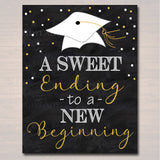 Graduation is Sweet Party Chalkboard Printable, Dessert Table Sign Grad Party Invite, Sweet Ending To A New Beginning Decor