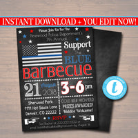 EDITABLE Support The Blue Police Picnic Invitation Company Picnic, Family Picnic, BBQ Company Outing Barbecue Summer Fundraiser, 4th of July