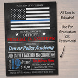 Editable Police Academy Graduation Invitation Chalkboard Printable Digital College Grad Invite, Retirement Party, Cop Detective BBQ Invite