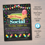 EDITABLE Ice Cream Social Invite Teacher Appreciation Chalkboard Printable Appreciation Week Ice Cream Party Flyer, pta pto INSTANT DOWNLOAD