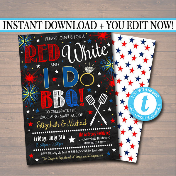 EDITABLE Fourth of July Party, Red White and I Do BBQ Picnic Invitation, Bridal Couples Shower, Engagement Grill Out Celebration 4th of July