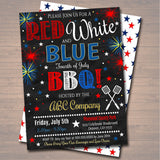 EDITABLE Fourth of July Party BBQ Picnic Invitation Company Event, Family Picnic, BBQ Family Outing Barbecue Summer Fundraiser, 4th of July