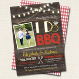 I Do BBQ Picnic Invitation, Bridal Couples Shower, Engagement Grill Out Celebration, Rustic Country Vintage Plaid String Lights