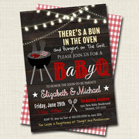 EDITABLE Baby-Q BBQ Picnic Invitation, Baby Sprinkle, Couples Baby Shower Grill Out Celebration 4th of July There's a Bun in The Oven Invite