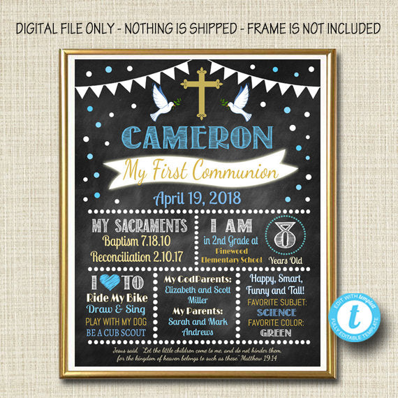 EDITABLE First Communion Chalkboard Poster, Religous Christian Sacrament Party Decor, Boy Chalkboard Printable Baptism Sign INSTANT DOWNLOAD