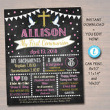 EDITABLE First Communion Chalkboard Poster, Religous Christian Sacrament Party Decor Girl Chalkboard Printable Baptism Sign INSTANT DOWNLOAD
