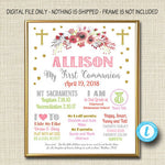 EDITABLE First Communion Decoration Poster, Religous Christian Sacrament Party Decor Girl Chalkboard Printable Baptism Sign INSTANT DOWNLOAD