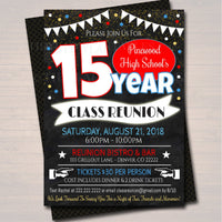 Editable Reunion Invitation Template - Any Year! Any School Colors! College, High School Reunion Faux chalkboard Invite INSTANT DOWNLOAD