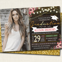 Graduation Invitation Rustic Barn Wood Printable Floral College Grad Invite Graduation Party Lights with Photo,