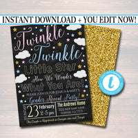 EDITABLE Gender Reveal DIY Invite, Twinkle Twinkle Little Star How We Wonder What You Are Invitation, Couples Baby Shower Sprinkle Blue Pink