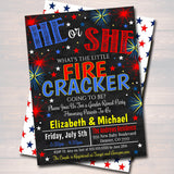 EDITABLE Fourth of July Gender Reveal Party, Red White Baby-Q BBQ Picnic Invitation, Baby Sprinkle, Couples Baby Shower, Firecracker is Due