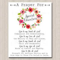 Special Educator Prayer Art, School Teacher Gift, Floral Classroom Office Decor Wall Art, INSTANT DOWNLOAD Religious Inspiration Printable
