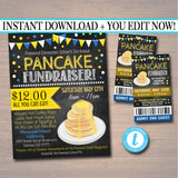 Pancake Breakfast Fundraiser Flyer Ticket Set - Editable Template