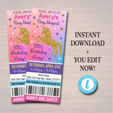 EDITABLE Unicorn Girl's Birthday Ticket Invitation, Magical Unicorn Cotton Candy Rainbow Party Invite Tween Party Invite INSTANT DOWNLOAD