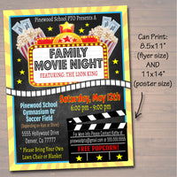 EDITABLE Movie Night Flyer, Printable PTA PTO Flyer, School Church Benefit Fundraiser Event Poster Digital Cinema Party Printable Invitation