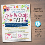 EDITABLE Craft Fair Flyer, Spring Summer Craft Show Invitation Handmade Floral Vintage Digital Invite Printable Community Event Church Flyer