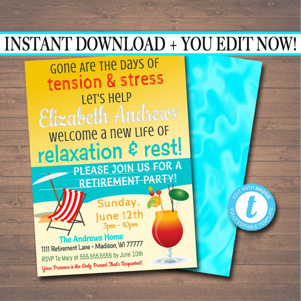 Beach Retirement Invitation Tropical Printable  Teacher, Nurse, Staff Invite Retirement Surprise Party,