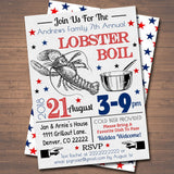 EDITABLE Crawfish Boil Invitation, Company Picnic, Family Picnic BBQ, Seafood Lobster Shrimp Boil, Barbecue Summer Backyard Party Invite