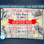 EDITABLE Seafood Boil Invitation, Low Country Engagement Party, Wedding Couples Shower BBQ, Shrimp Crawfish Crab, Barbecue Nautical Invite