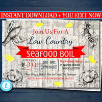 EDITABLE Seafood Boil Invitation, Low Country Company Picnic, Family Picnic BBQ, Shrimp Crawfish Boil, Barbecue Summer Backyard Crab Invite
