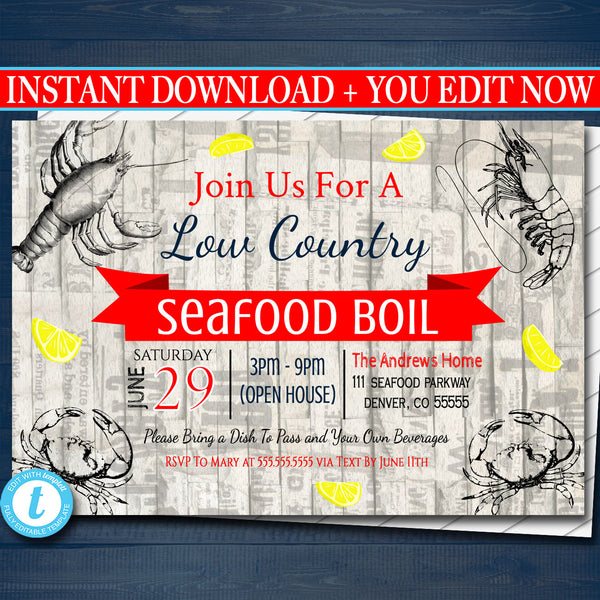 EDITABLE Seafood Boil Invitation, Low Country Company