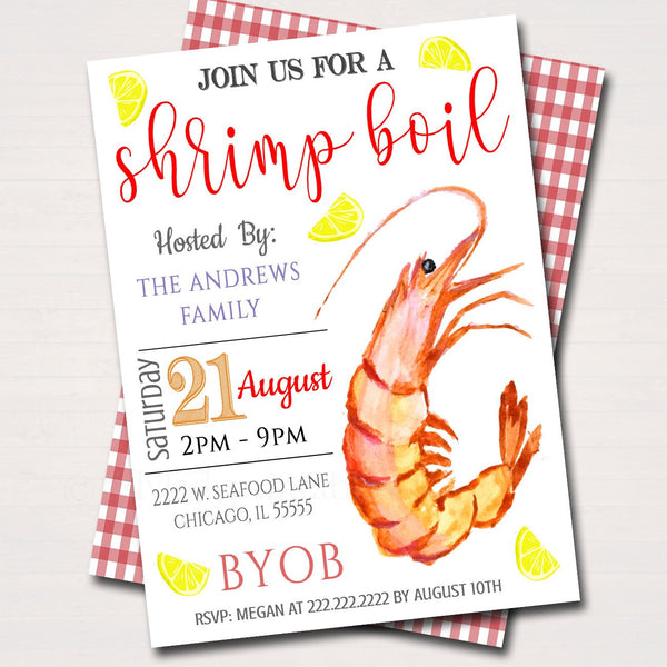 EDITABLE Shrimp Boil Invitation, Low Country Company