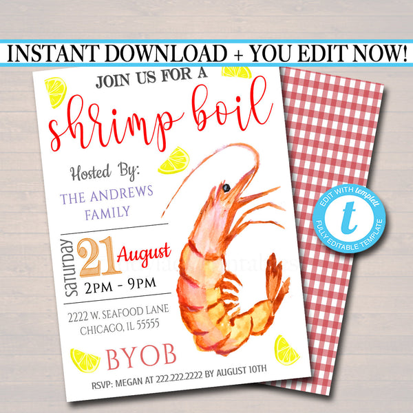 Shrimp Boil Invitation, Low Country Company Picnic, Family