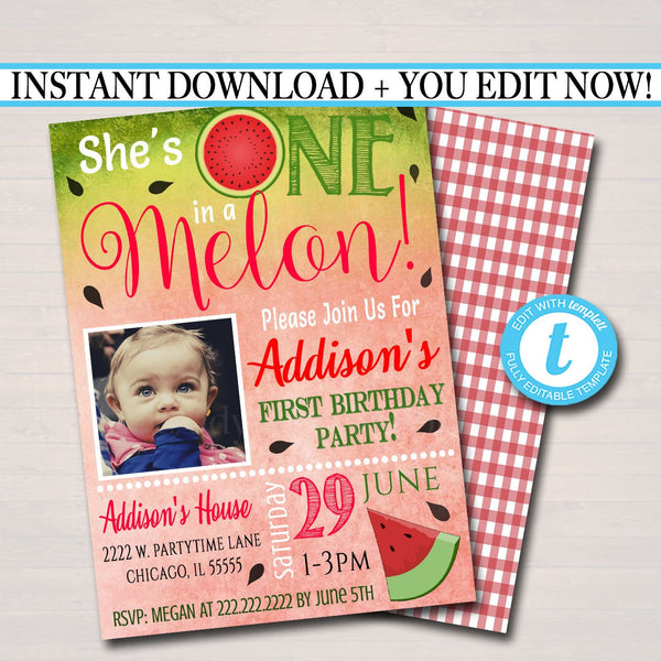 EDITABLE One In A Melon Party Birthday Invitation Girls First 1 Year Old