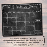EDITABLE Printable Family Calendar Chalkboard Wall Art, Command Center, Family Schedule Organizer, Chalkboard Art Modern Home Decoration