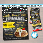 Loaded Baked Potato Fundraiser Flyer Ticket Set, pto pta, Church Community School Benefit Event, Adoption Dinner